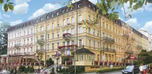 Panorama des Hotel Krivan nahe der Karlsbader Promenade