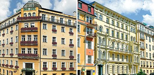 Zwei Bilder zusammen: Hotel Flora und Hotel Maxim jeweils von vorn