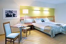 Blick in ein Doppelzimmer des Hotels Olymp 3