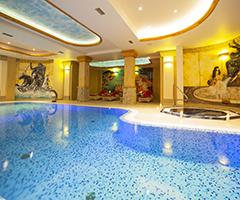 Blick zum Schwimmbecken des hotels Trofana