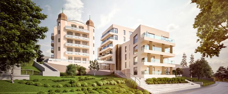 Gesamtansicht des ausgebauten Hotels Trofana (Fertigstellung im Sommer 2019)