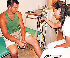 lokale Kryotherapie am Knie in Niechorze