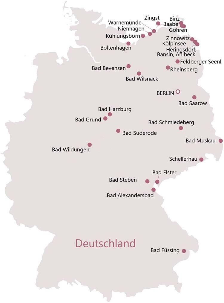 Kururlaubs- und Wellness-Reiseziele in Deutschland