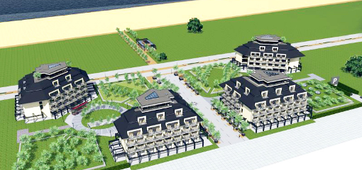 Platinum Resort und ganz links das Hotel Ewerdin (Grafik)